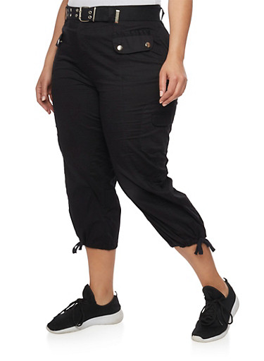 Plus Size Solid Belted Cargo Capri Pants,BLACK,large