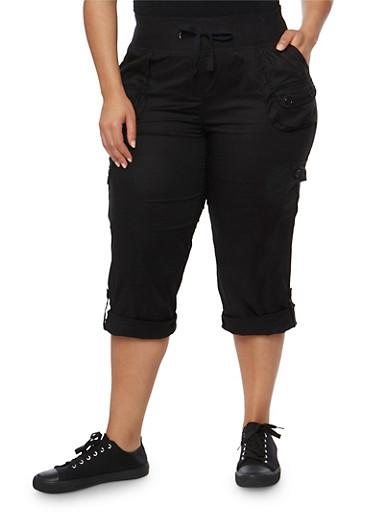 Plus Size Drawstring Solid Capri Pants,BLACK,large
