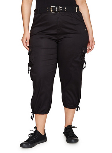 Plus Size Belted Capri Cargo Pants,BLACK,large