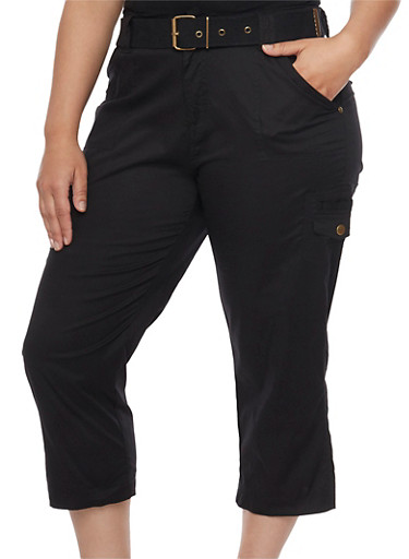 Plus Size Belted Cargo Capri Pants,BLACK,large