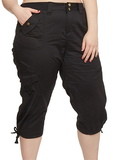Plus Size Solid Knit Waist Cargo Capri Pants,BLACK,large