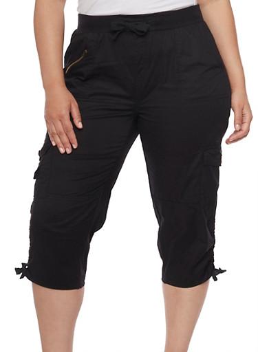 Plus Size Cargo Capri Pants with Zip Trim,BLACK,large