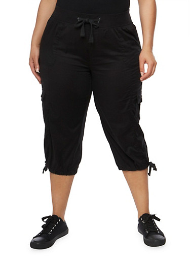 Plus Size Drawstring Cargo Capri Pants,BLACK,large