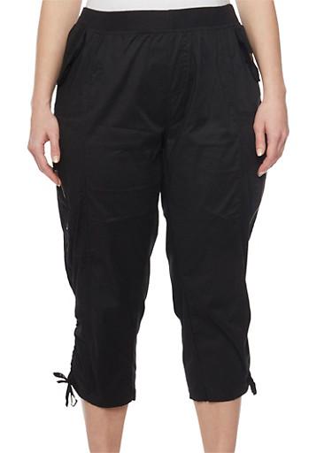 Plus Size Cargo Capri Pants with Drawstring Hem,BLACK,large