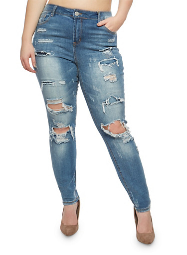 Plus Size Almost Famous Destroyed Skinny Jeans,MEDIUM WASH,large