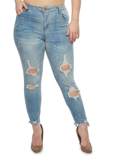 Plus Size Almost Famous Destruction Skinny Jeans,MEDIUM WASH,large