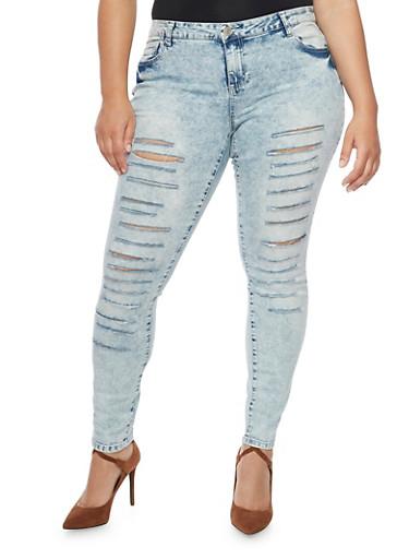 Plus Size Almost Famous Skinny Slash Cut Jeans,LIGHT WASH,large