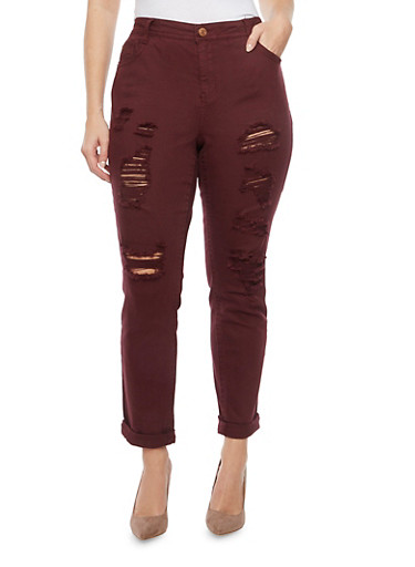 Plus Size Almost Famous Jeans with Distressed Front,BURGUNDY,large