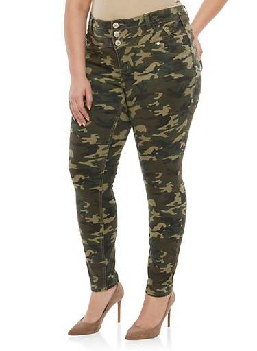 Plus Size Almost Famous 3 Button Camo Jeans,OLIVE,large