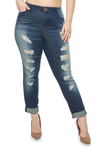 Plus Size Almost Famous Destruction Roll Cuff Jeans,MEDIUM WASH,large