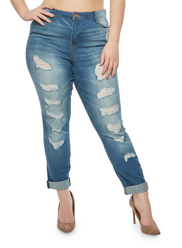 Plus Size Almost Famous Destruction Roll Cuff Jeans,DARK WASH,large