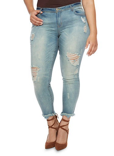 Plus Size Almost Famous Cropped Skinny Jeans with Rips,MEDIUM WASH,large