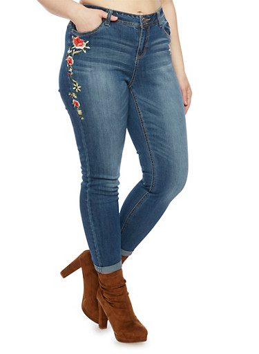 Plus Size Almost Famous Skinny Jeans with Embroidery,MEDIUM WASH,large