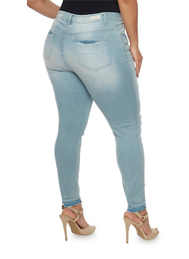 Plus Size Almost Famous Distressed Front Skinny Jeans - Rainbow