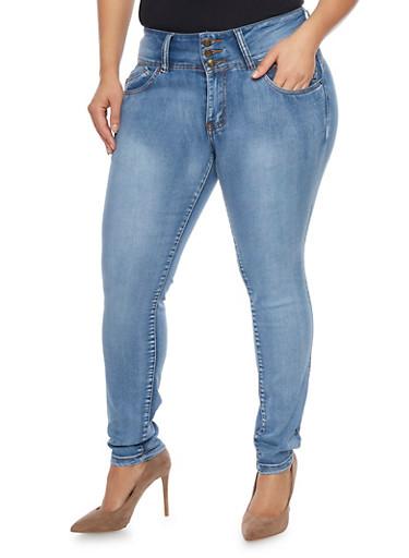 Plus Size High Waisted Push Up Skinny Jeans,ICE WASH,large
