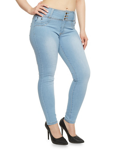 Plus Size High Waisted 3 Button Skinny Jeans,BLEACH,large