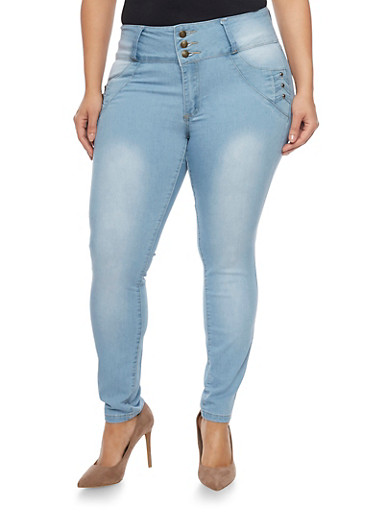 Plus Size High Waisted Push Up Jeans,BLEACH,large