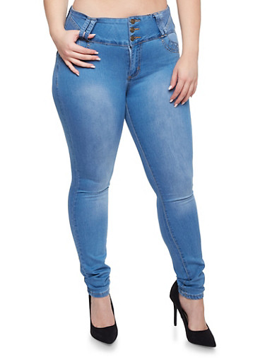 Plus Size High Waisted Skinny Jeans with Back Pocket Detail,LIGHT WASH,large