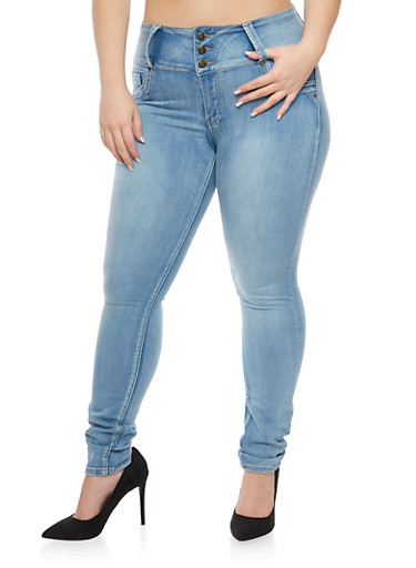 Plus Size Skinny Jeans with Three Buttons,LIGHT WASH,large