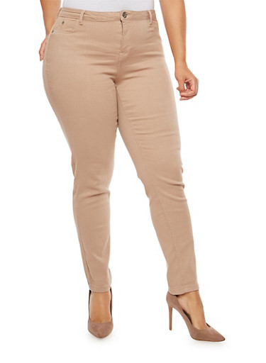 Plus Size Solid Push Up Jeans,KHAKI,large