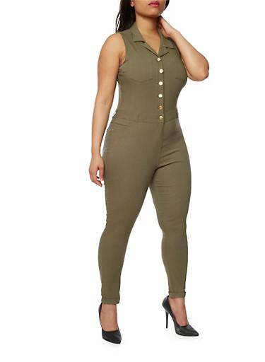 Plus Size Sleeveless Stretch Denim Jumpsuit,OLIVE,large