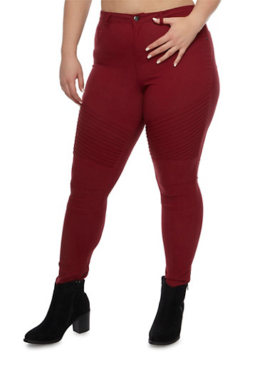 Plus Size Moto Jeans in Stretch Knit,BURGUNDY,large