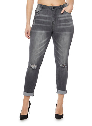 Plus Size Cello Jeans with Distressed Knees,GRAY,large