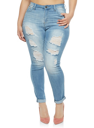 Plus Size Cello Distressed Skinny Jeans,LIGHT WASH,large