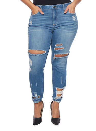 Plus Size Cello Ripped Skinny Jeans,MEDIUM WASH,large