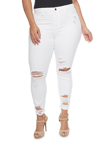 Plus Size Cello Distressed Skinny Jeans,WHITE,large
