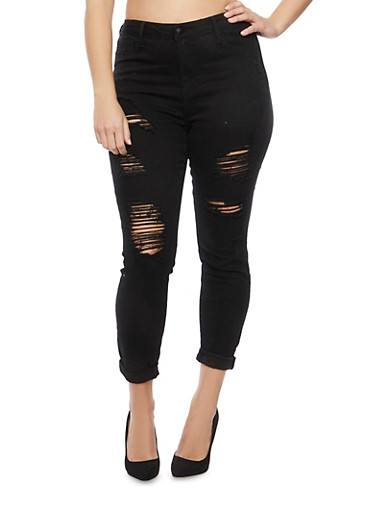 Plus Size Cello Jeans with Distressed Front,BLACK,large