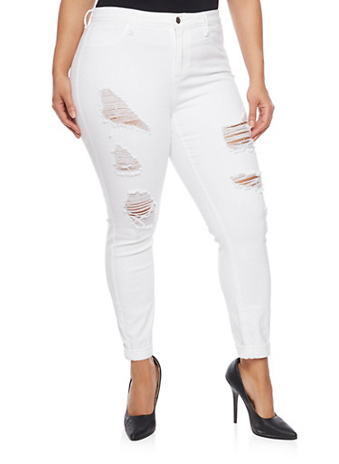 Plus Size Destroyed Skinny Jeans with Rolled Cuffs,WHITE,large