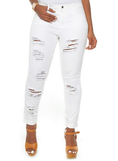 Plus size distressed white skinny jeans « Clothing for large ladies