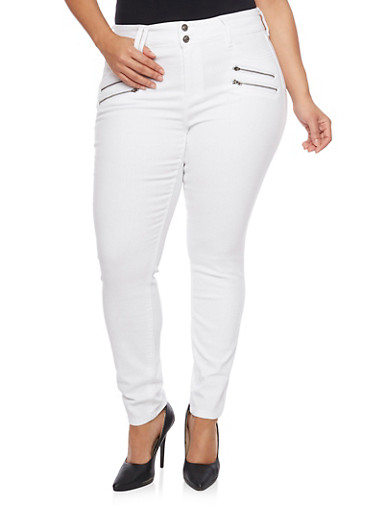 Plus Size Solid Two Button Skinny Jeans with Zippers,WHITE,large