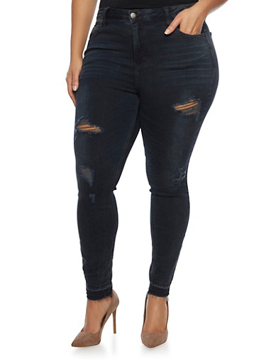 Plus Size Cello Skinny Jeans with Distressed Details,BLACK,large