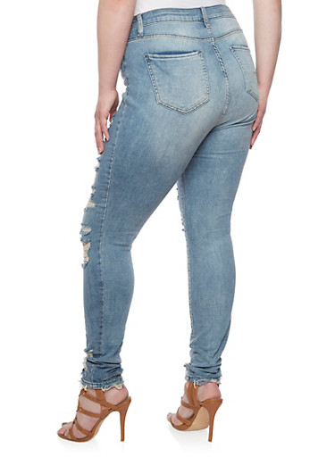 Plus Size Cello Medium Wash Destroyed Ankle Skinny Jeans - Rainbow