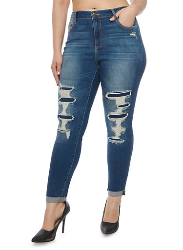 Plus Size Cello Jeans with Distressed Front,MEDIUM WASH,large