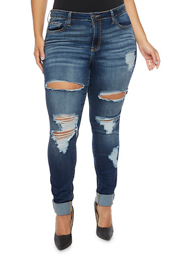 Plus Size Cello Distressed Skinny Jeans,DENIM,large