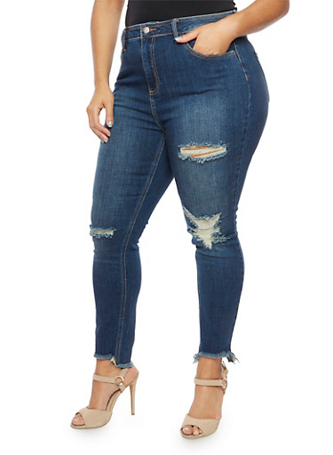 Plus Size Cello Distressed Skinny Jeans with Frayed Hems,DARK WASH,large