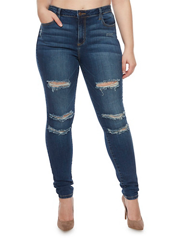 Plus Size Cello Skinny Jeans with Distressing,DENIM,large