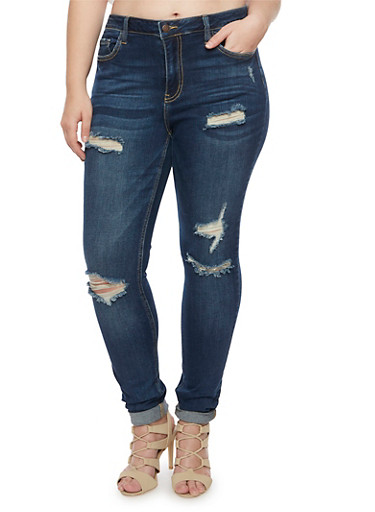 Plus Size Cello Ripped Skinny Jeans,DARK WASH,large