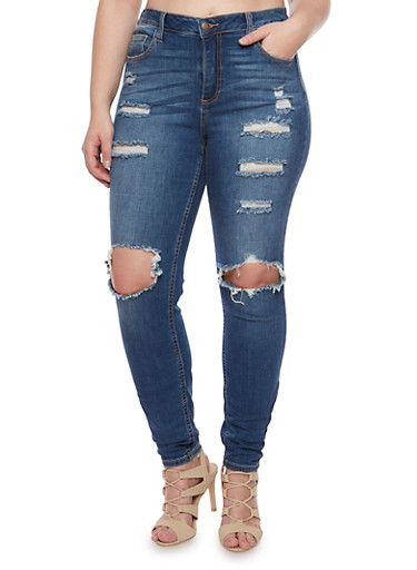Plus Size Cello Distressed Skinny Jeans with Ripped Knees,DENIM,large
