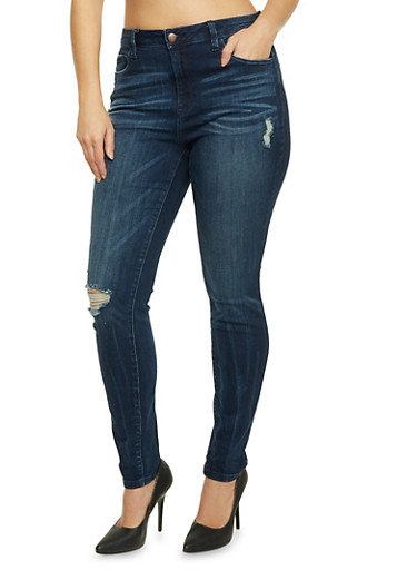 Plus Size Cello Jeans with Distressed Front,DARK WASH,large