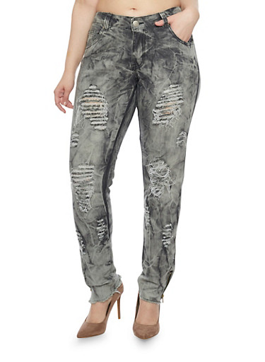 Plus Size Ripped Tie Dye Skinny Jeans with Zip Ankles,BLACK,large