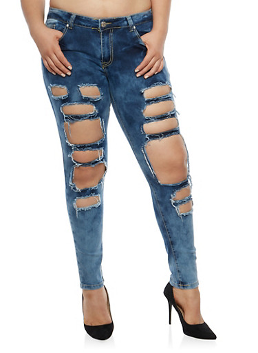 Plus Size Destroyed Skinny Jeans,DARK WASH,large
