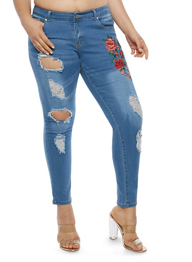 Plus Size Floral Applique Distressed Skinny Jeans,MEDIUM WASH,large