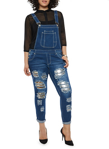 Plus Size Ripped Patch and Repair Overalls,DARK WASH,large