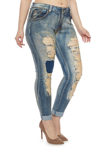 Plus Size Rip and Repair Skinny Jeans,MEDIUM WASH,large