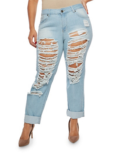 Plus Size VIP Destroyed Cuffed Skinny Jeans,DENIM,large