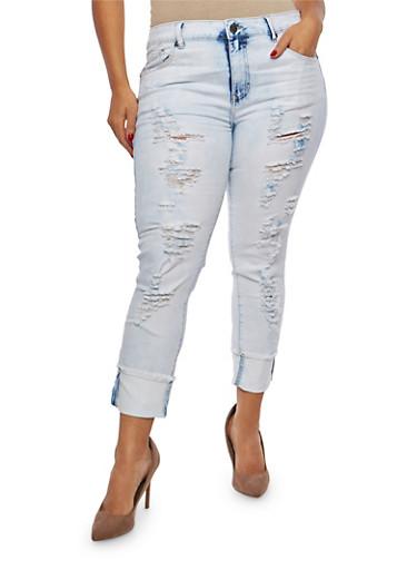 Plus Size VIP Graphic Raw Hem Skinny Jeans,DENIM,large